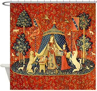 CafePress Lady and The Unicorn Medieval Tapestry Art Shower Decorative Fabric Shower Curtain (69