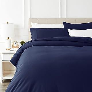 Amazon Basics - Juego de cama de franela con funda nórdica - 200 x 200 cm/50 x 80 cm x 2, Azul marino