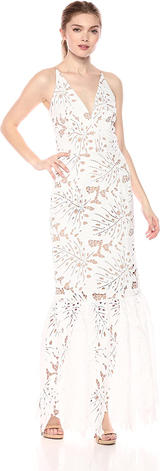 Dress the Population Brooke Illusion Lace Plunging Fitted Trumpet Gown