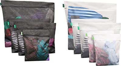 EarthWise in Laundry Bags for Delicates - 10 Bags Premium Mesh Set with Zipper for Washing Color Coded Tags for Drying wash Durable 5 Bags for Whites & 5 Bags for Colors Great for Travel