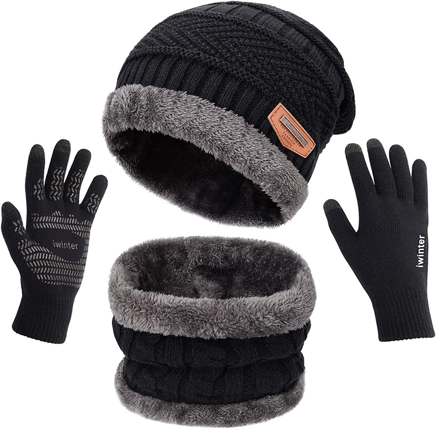MAYLISACC New product Winter At the price of surprise Knit Beanie Hat Neck Warmer Scarf Touch and Scr