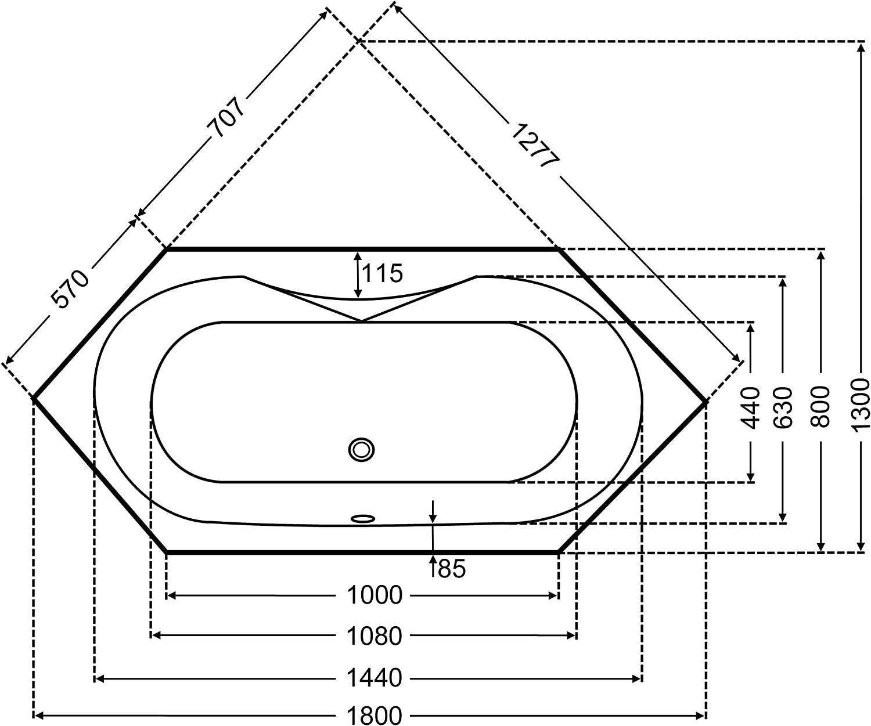 Badewanne Acryl Sechseck wei 180x80cmx45cm Eckwanne