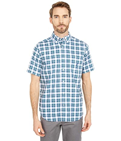 Nautica Classic Fit Plaid Poplin Shirt (Bright White) Men