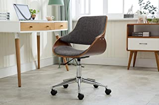 Porthos Home TFC045B Gry Adjustable Height Mid Century Modern Office Desk Chair Fabric and Wood with Caster Wheels, Easy Assembly, One Size, Grey