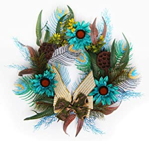 Leelife Winter Christmas Wreath Including Spruce Peacock Feather,Artificial Sunflower, Dried Brown Lotus Pods and Serpentine Ribbon Bow for Wall, Window and Front Door Decor