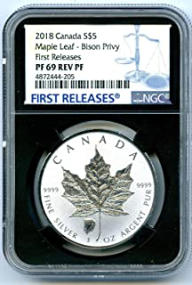 2018 Canada Coin Canadian Silver Maple Leaf Reverse Proof BISON BUFFALO Privy FIRST RELEASES $5 PF69 NGC