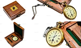 Sailor's Art Antique Brass Ship Pocket Watch with Wooden Box Unique Gift 2