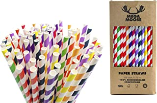Mega Moose Biodegradable Paper Straws - 200 ct. Striped Paper Drinking Straws with Ultra Compost - Bulk Paper Straws for Wedding Decorations, Smoothies, Bridal Showers, and Baby Showers (Rainbow)