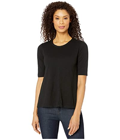 Mod-o-doc Slub Jersey Elbow Sleeve Swingy Tee (Black) Women