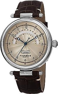 Akribos XXIV Men's Guilloche Textured Dial Day and Date Indicators - Genuine Crocodile Leather Strap - AK795