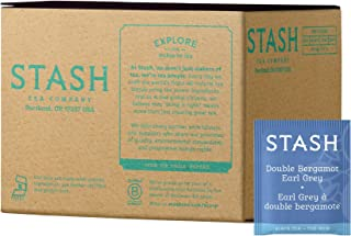 Stash Tea Double Bergamot Earl Grey Tea 100 Count Box of Tea Bags, Full Caffeine Tea, Black Tea with Bergamot, Enjoy Hot or Iced