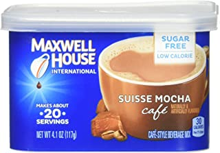 Maxwell House International Cafe Suisse Mocha Sugar Free Instant Ground Coffee (4.1 oz Canisters, Pack of 4)