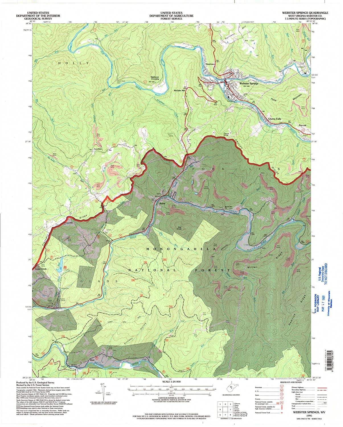 Webster Springs WV topo map, 1 24000 Scale, 7.5 X 7.5 Minute, Historical, 1995, Updated 1998, 27.3 x 21.9 in