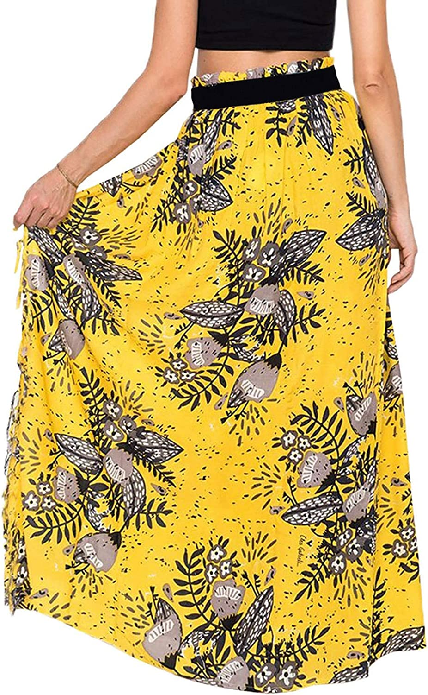 CHARTOU Women's Summer Boho Printed Thigh Slit Tassel Fold Over Cover Ups Beach Maxi Skirt