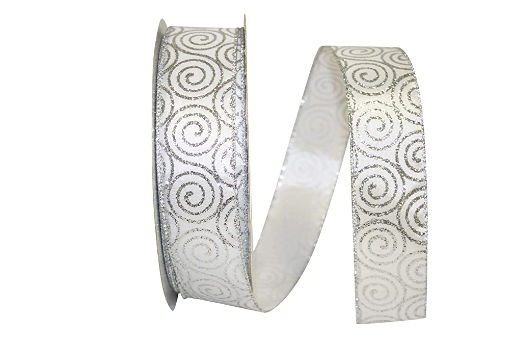Reliant Ribbon 92304W-070-09K Glitter Swirl Value Wired Edge Ribbon, 1-1/2 Inch X 50 Yards, Silver