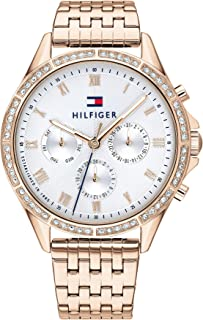 Tommy Hilfiger Women's Silver White Dial Ionic Plated Carnation Gold Steel Watch - 1782143