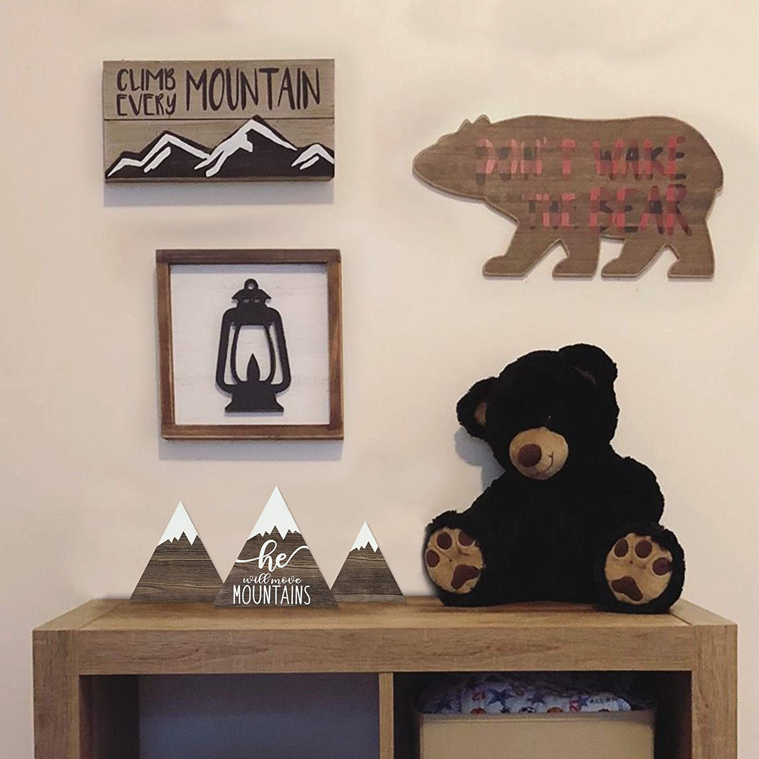 Boy or Gender Neutral Nursery Table Riverside Rustics Hanging or Standing Wooden Mountain Decor Wall and Shelf Decoration Set of 3 Wander Explore Discover Woodland Adventure Newborn Baby Girl