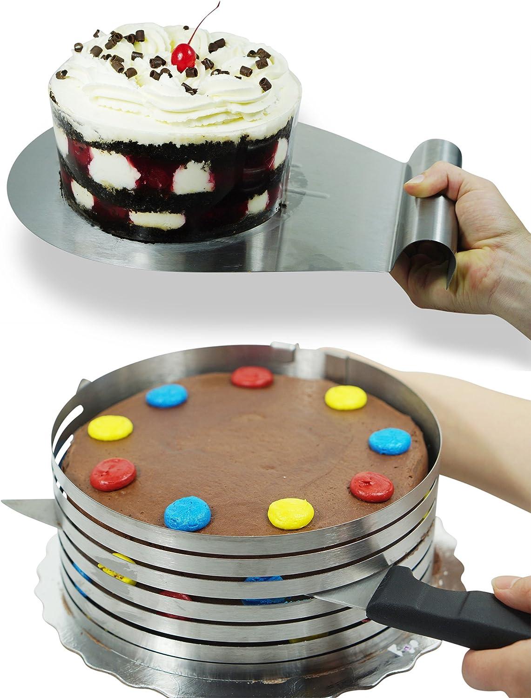 Goods N' Goodies Cake Slicer Kit Bundle - 2 items  Adjustable Mousse Mold Layer Cake Cutter & Cake Server