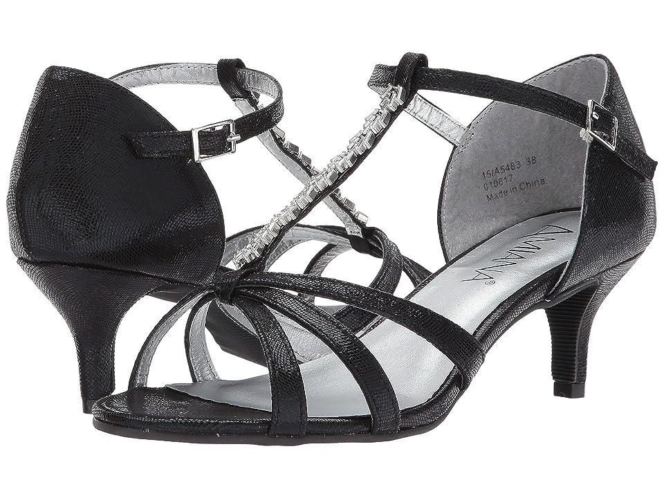 Image of Amiana 15-A5483 (Little Kid/Big Kid/Adult) (Black Scored Metallic) Girl's Shoes