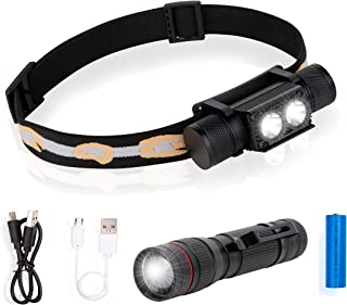 Liskan Headlamp Headlight1500Lumen Rechargeable with18650Battery,CREE LED,Flashlight XPE LED,Zoomable,Lightweight USB,2Pices in one pack,Waterproof,Dustproof,Great for Hiking,camping,Running,Worklight