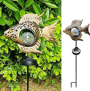Weukum Outdoor Solar Fish Lights Metal Fish Garden Stakes Decor Warm White LED Lamp for Lawn Patio Garden Yard(Bronze Fish)