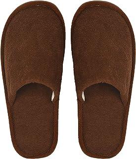 DRUNKEN Brown Carpet Slippers for Men, Slip-On Bedroom Slippers for Home & Travel