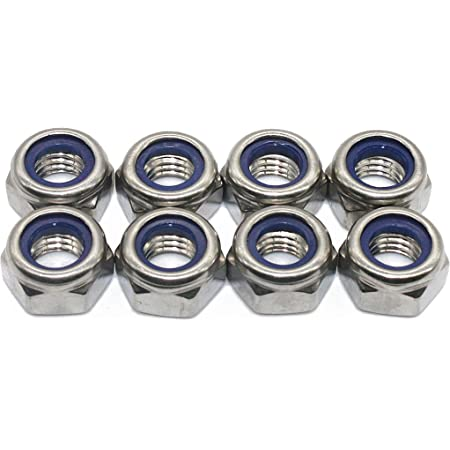 Size: M10x1.25mm NUTW-38315 10pcs M5 M8 M10 M12 Hex with Nylon Ring Lock Nuts Outer Hexagon Fine Teeth Self-Locking Stainless Steel Nut