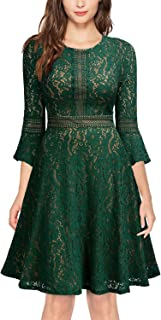 MISSMAY Women's Vintage Full Lace Contrast Flare Sleeve Big Swing A-Line Dress