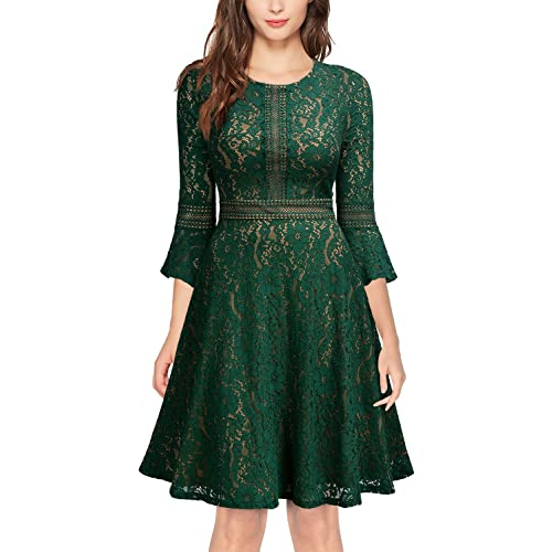 MISSMAY Women s Vintage Full Lace Contrast Flare Sleeve Big Swing A-Line  Dress 0c0341c32