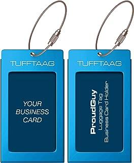 Luggage Tags Business Card Holder TUFFTAAG PAIR Travel ID Bag Tag - Blue Azure