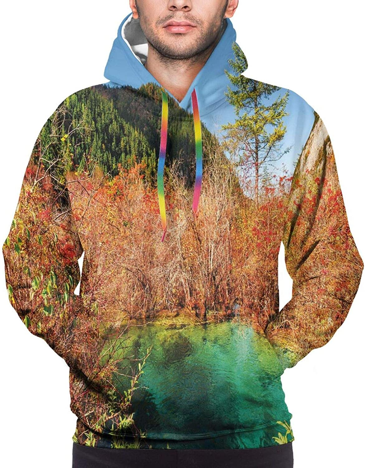 Men's Hoodies Sweatshirts,Idyllic Fall Landscape with A Creek Among The Forest in National Park Valley Art