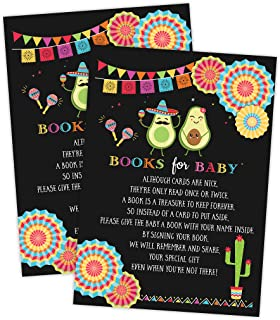 Fiesta Mexican Baby Shower Book Request Cards, Neutral Baby Shower Games, Set of 50