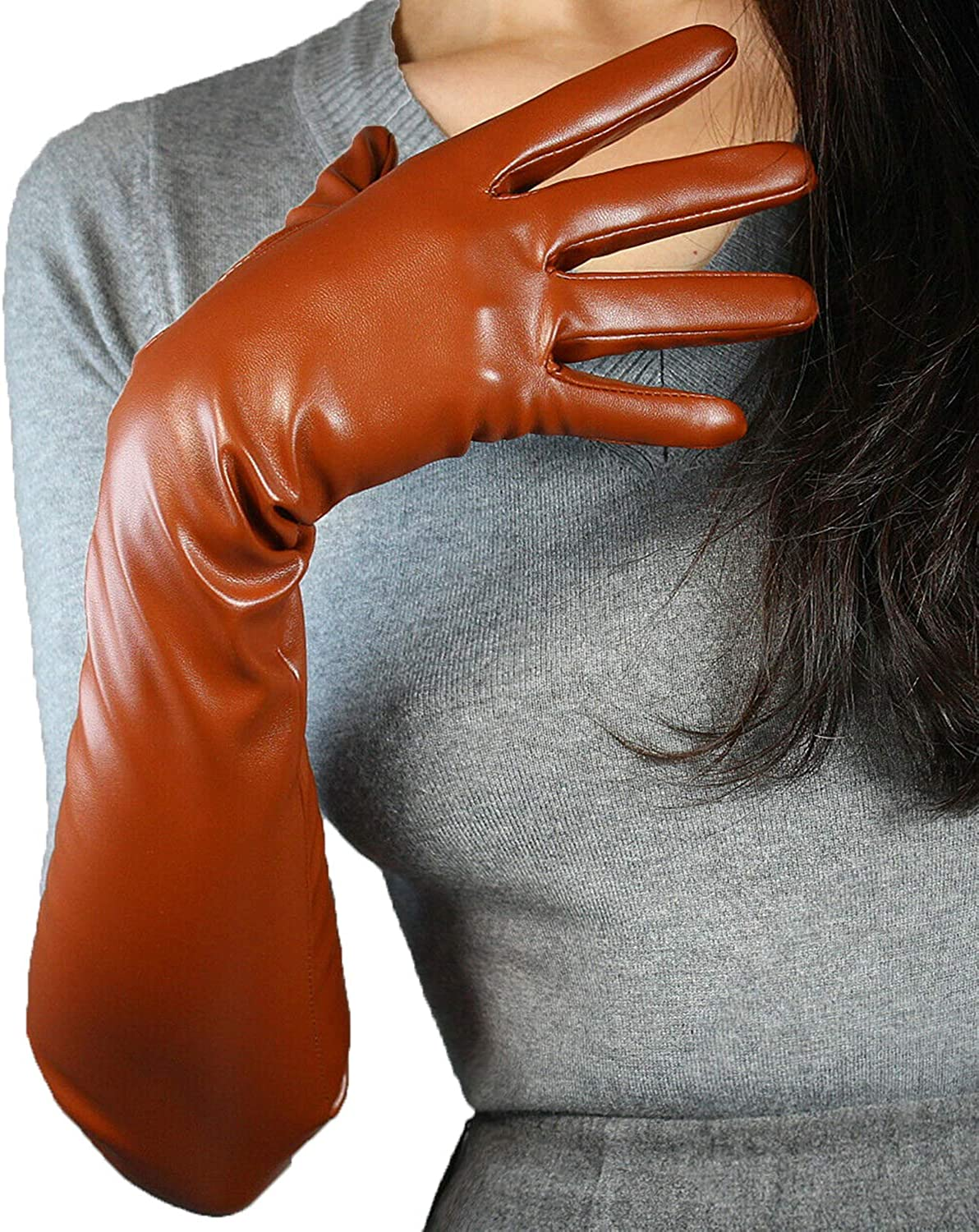 DooWay Women Long Gloves Faux Leather Over Elbow Length 20-inch PU Winter Warm Full Finger Gloves