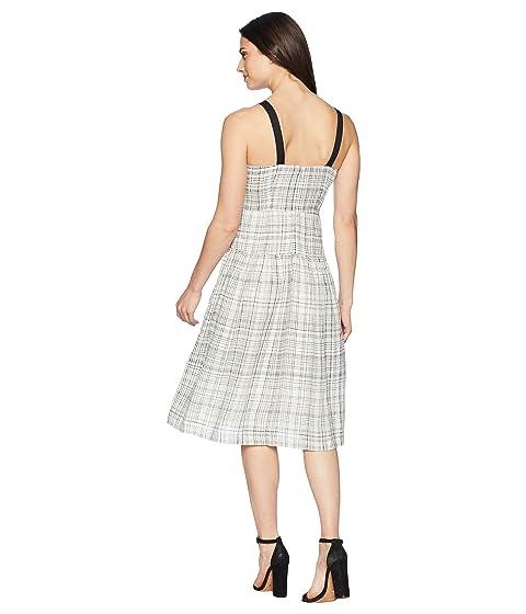 Morgan cintura Vestido contraste lino Donna cuadros negro a color de de en correas de caída de con marfil zrwcO5rq