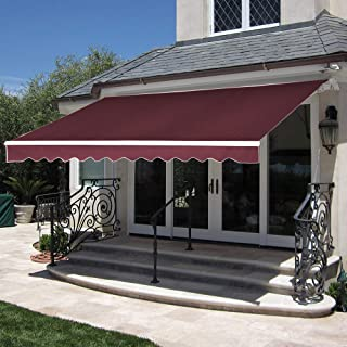 MCombo 10x8 Feet Manual Retractable Patio Door Window Awning Sunshade Shelter Outdoor Canopy (Burgundy)