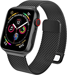 EPULY Compatible with Apple Watch Band 45mm 44mm 42mm 41mm 40mm 38mm,Stainless Steel Men and Women Mesh Strap Replacement Band for iWatch Series 7 SE 6 5 4 3 2 1 (45/44/42mm Black).