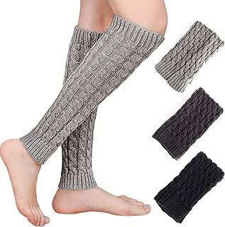 Emooqi Damen Stulpen Lang,3 Paar Damen Bein-Stulpen/Verdicken Beinstulpen Grau-Weiß Schwarz-Weiß One-Size