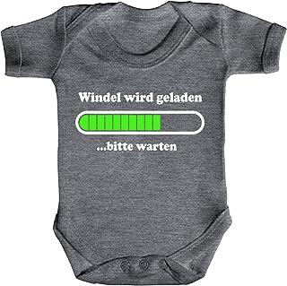 ShirtStreet Lustige Geschenkidee Geburt Strampler Bio Baumwoll Baby Body kurzarm Windel wird geladen