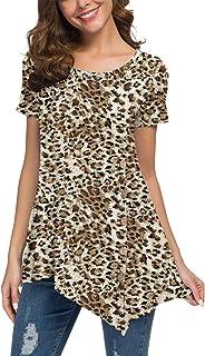 Viishow Women's Short Sleeve Scoop Neck Button Side Tunic Top