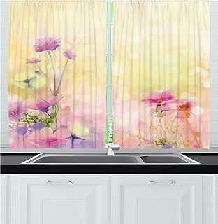 Ambesonne Flower Kitchen Curtains, Vintage Soft Colored Feminine Magnolia Blooms Whorls Motif Artwork Print, Window Drapes 2 Panel Set for Kitchen Cafe Decor, 55
