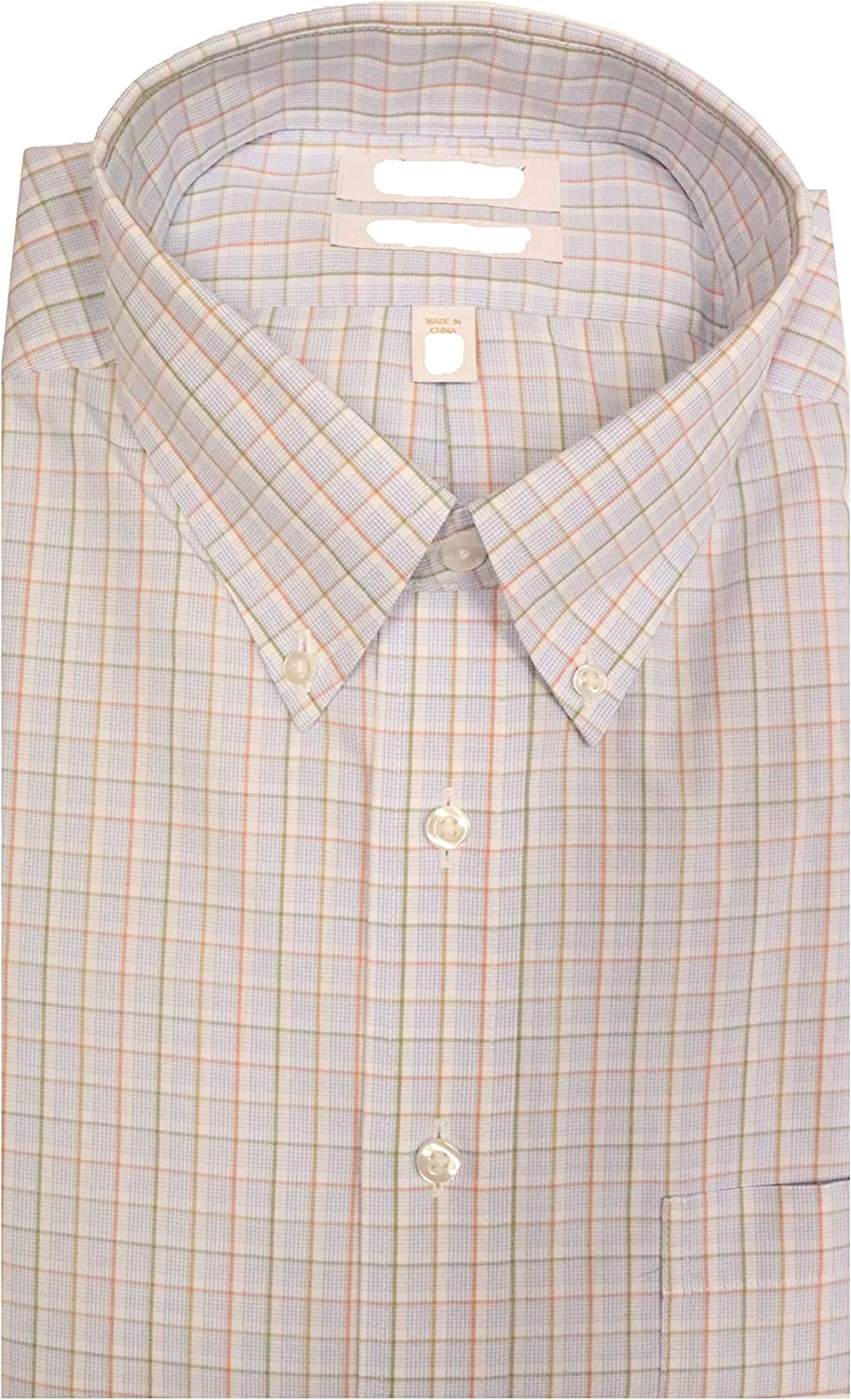 Gold Label Roundtree & Yorke Non-Iron Fitted Button Down Checked Dress Shirt G16A0023 Blue Multi