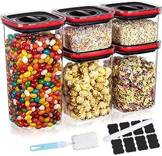 Aitsite Boîte de Rangement Cuisine 5Pcs Set, Lot de Boîte Hermétique de Conservation Alimentaire sans BPA, Pot Plastique H...