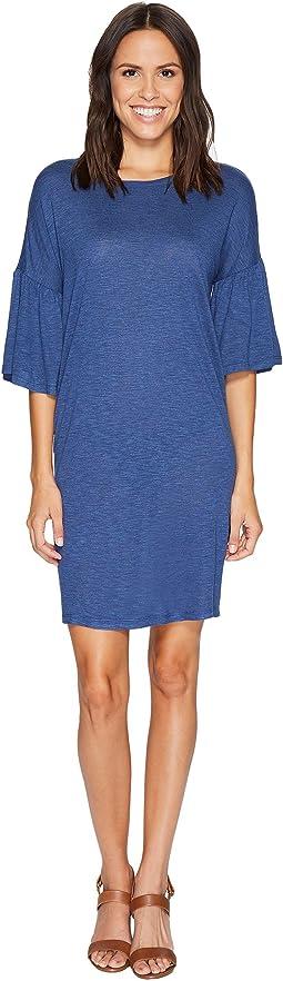 Ruched Bell Sleeve Slub Jersey Knit Dress