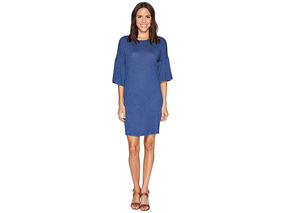 TWO by Vince Camuto Ruched Bell Sleeve Slub Jersey Knit Dress (Indigo Heather) Women