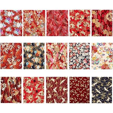 EXCEART 15 Pcs Coton Feuille de Tissu Japonais Style Couture Tissu Patchwork Tissu Tissu Bricolage Artisanat Tissu Photo Accessoires pour Sac Quilting Scrapbooking 25 Cm X 20 Cm