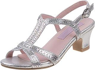 ed41116d9ea Nanette Lepore Girls Rhinestone Glitter Dress Sandals (Little Kid
