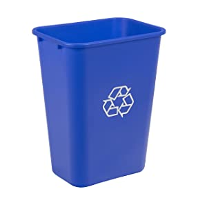 AmazonCommercial 10 Gallon Commercial Office Wastebasket, Blue, w/ Recycle Logo, 1-pack