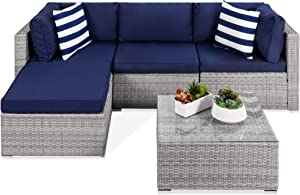 Best Choice Products 5-Piece Modular Conversation Set, Outdoor Sectional Wicker Furniture for Patio, Backyard, Garden w/ 3 Chairs, Ottoman Chair, 2 Pillows, 6 Seat Clips, Coffee Table - Gray/Navy