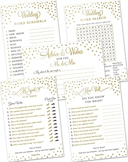 Bridal Shower Games - Wedding Games - Set of 5 Activities - (50 Cards Each, 250 Total) - Bridal Shower Supplies - Wedding Supplies - Gold