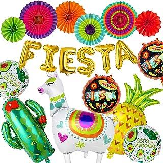 19 piezas Fiestas Mexicano Decoración Kits: Globos de llama, cactus, letras de fiesta, piña, aguacate con Ventiladores de Papel Colgantes - Suministros para Fiesta